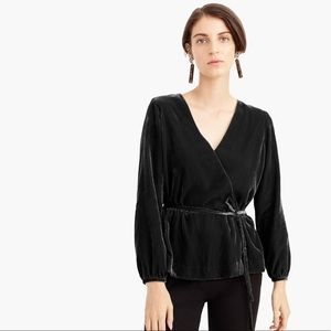 J.Crew Black Faux-Velvet Wrap Top Sz 6